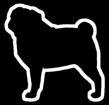 375x360 Pug Silhouette(S)' Sticker By Jenn Inashvili Silhouettes, Dog
