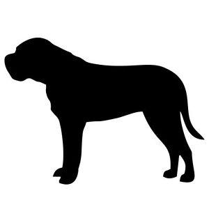 300x300 New Bull Mastiff Dog Black Silhouette Sticker Dogs Breed Stickers