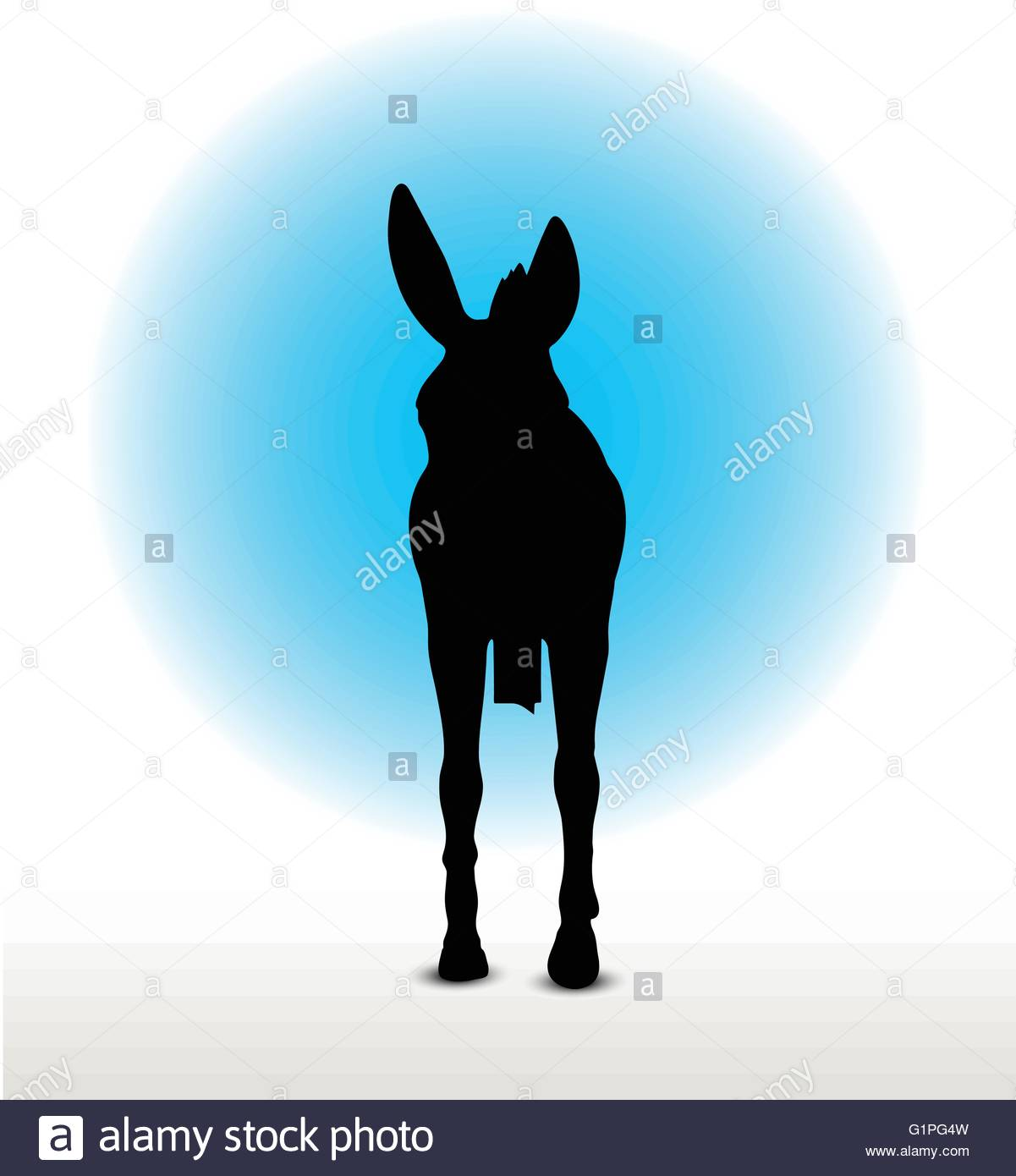 1201x1390 Vector Image, Donkey Silhouette, In Walk Pose, Isolated On White