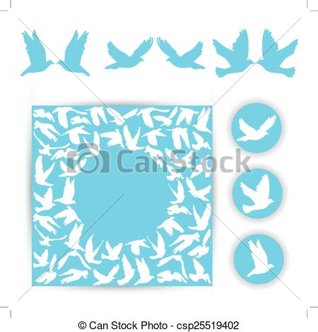 450x470 Set Design Wedding Card. White Doves On A Blue Background