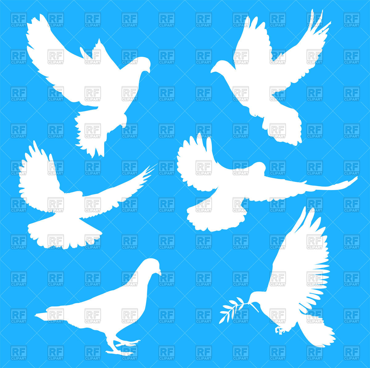 1200x1193 White Silhouettes Of Doves Royalty Free Vector Clip Art Image
