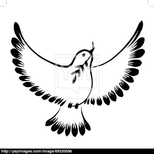 512x512 Silhouette Of A Flying Dove Peace Vector