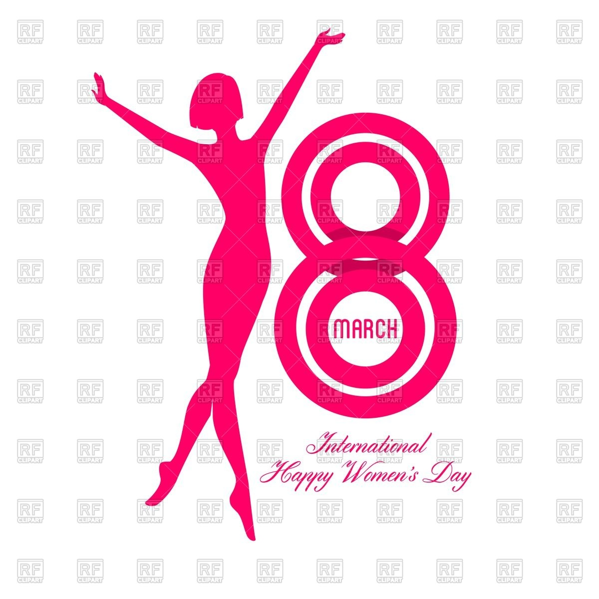 1200x1200 Happy Women Day Greeting Card With Silhouette Of Woman Royalty