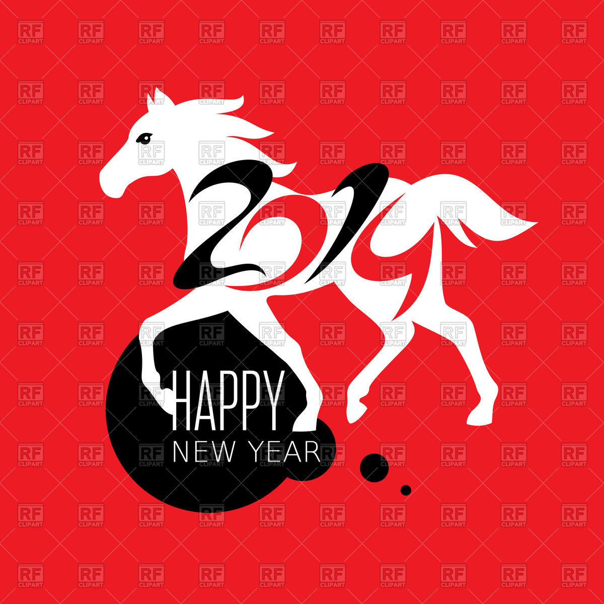 1200x1200 New Year Card With White Horse Silhouette Royalty Free Vector Clip