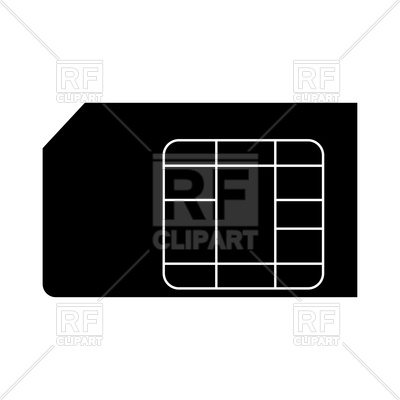 400x400 Silhouette Of Sim Card Royalty Free Vector Clip Art Image