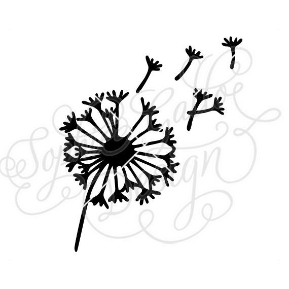 570x570 Dandelion Flower Svg Dxf Png Digital Download File Silhouette