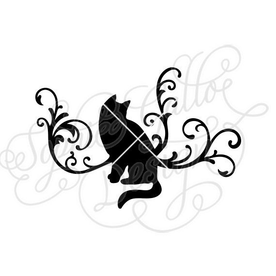 570x570 Kitty Cat Flourish Svg Dxf Digital Download Files For Silhouette