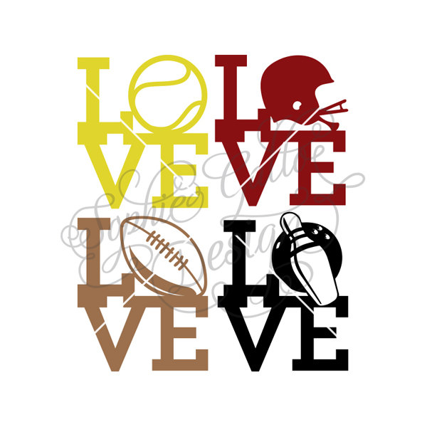 600x600 Sports Love Set Svg Dxf Digital Download Files For Silhouette