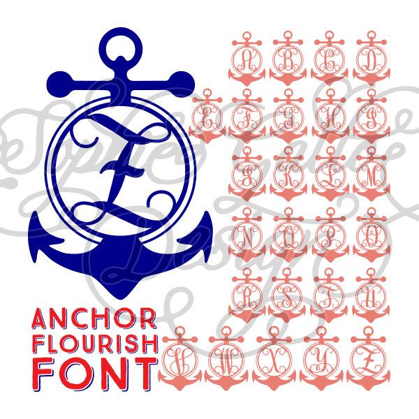 600x600 Anchor Monogram Font Svg Dxf Digital Download Files