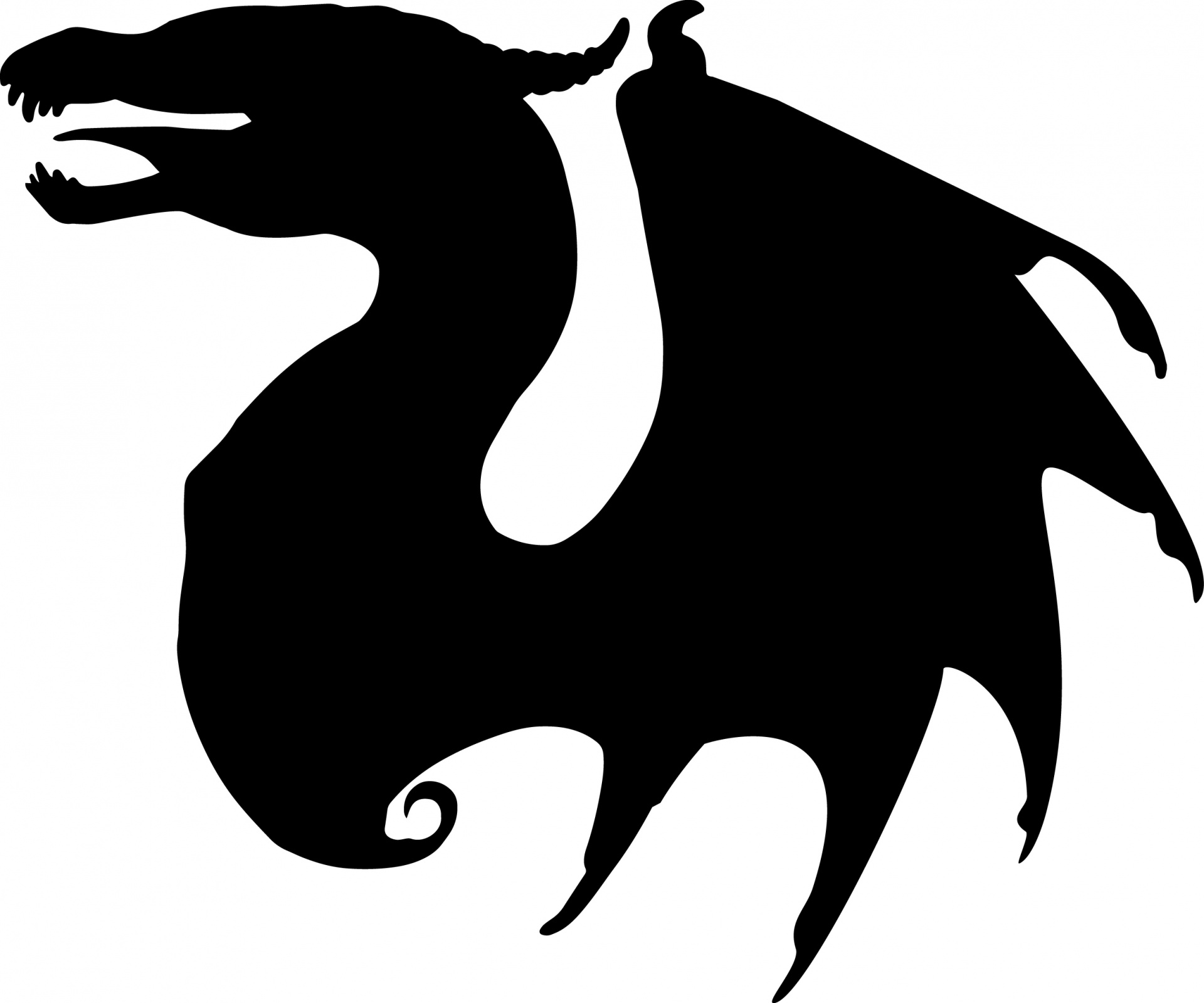 1920x1599 Dragon Silhouette Drawing Free Stock Photo