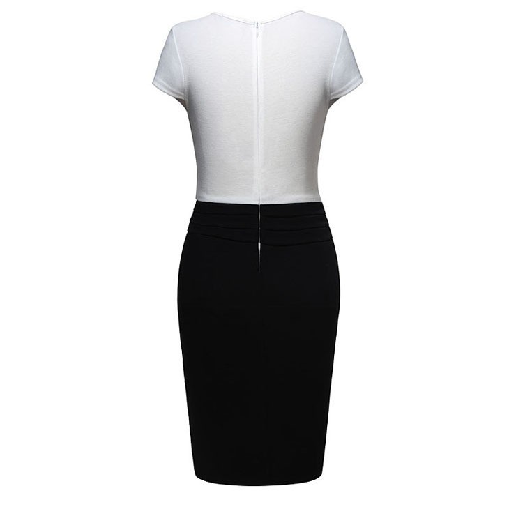 730x730 Black Amp White Short Sleeves Knee Length Pencil Dress With Lace