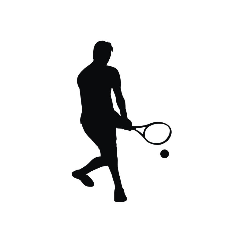 800x800 Serve Tennis Wall Stickers Sports Player Silhouette Gym Wall