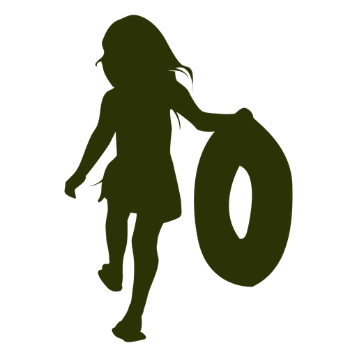 512x512 Girl Playing With A Balloon Silhouette