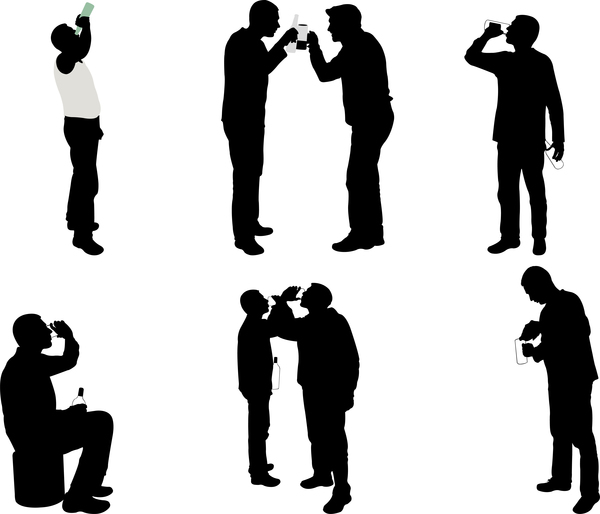 600x514 Men Drinking Silhouette Vector
