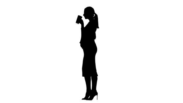590x332 Pregnant Woman Is Drinking Tea. Silhouette. White Background. By