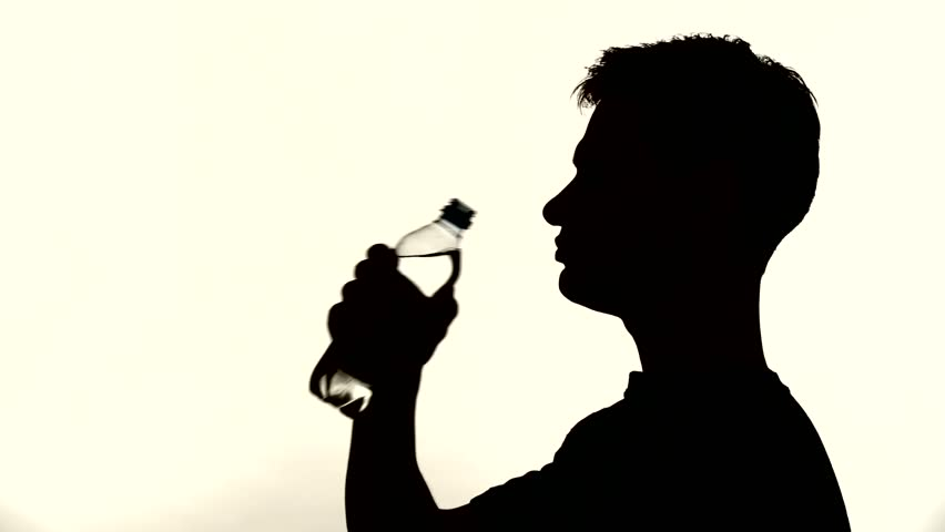 852x480 Silhouette Of A Man Drinking Stock Footage Video 6742288