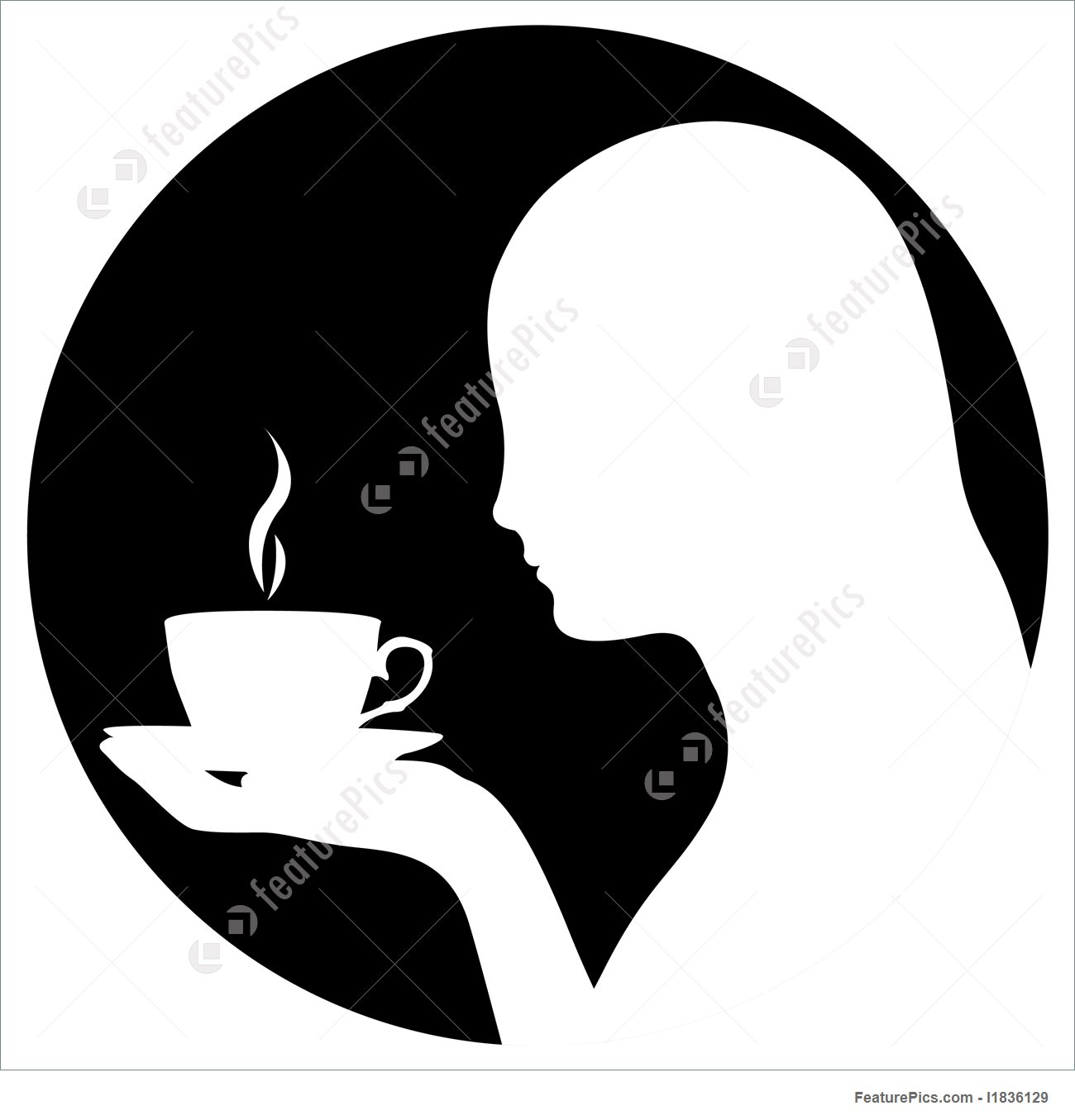1300x1355 Silhouette Of Woman Drinking Coffee Stock Illustration I1836129