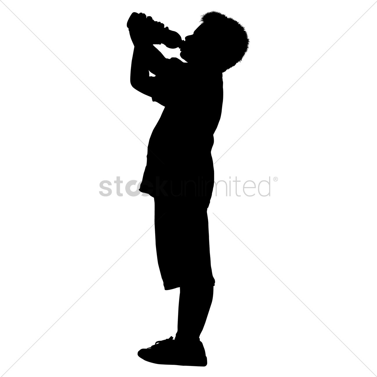 1300x1300 Silhouette Of A Boy Drinking Water Vector Image
