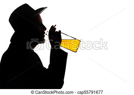 450x320 Silhouette Of A Drinking Man With A Bottle Of Whiskey Picture