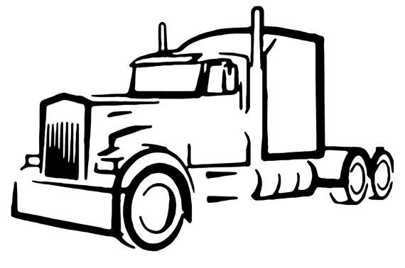 570x378 Truck Driver Semi Truck Vinyl Decal Outline Decal Custom Made