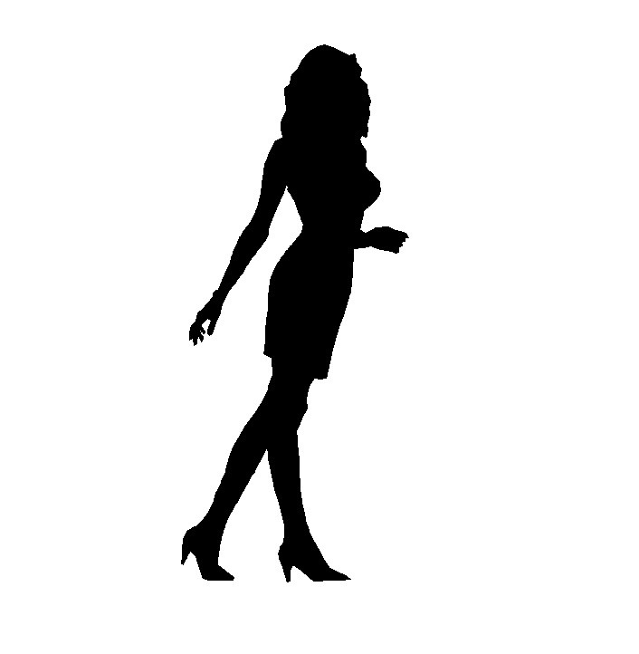 706x722 Free Cad Block Woman Elevation Silhouette