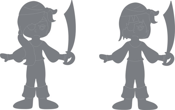 570x357 Pirate Boy And Pirate Girl Wood Decoratives Cnc Laser Cdr Dxf Svg
