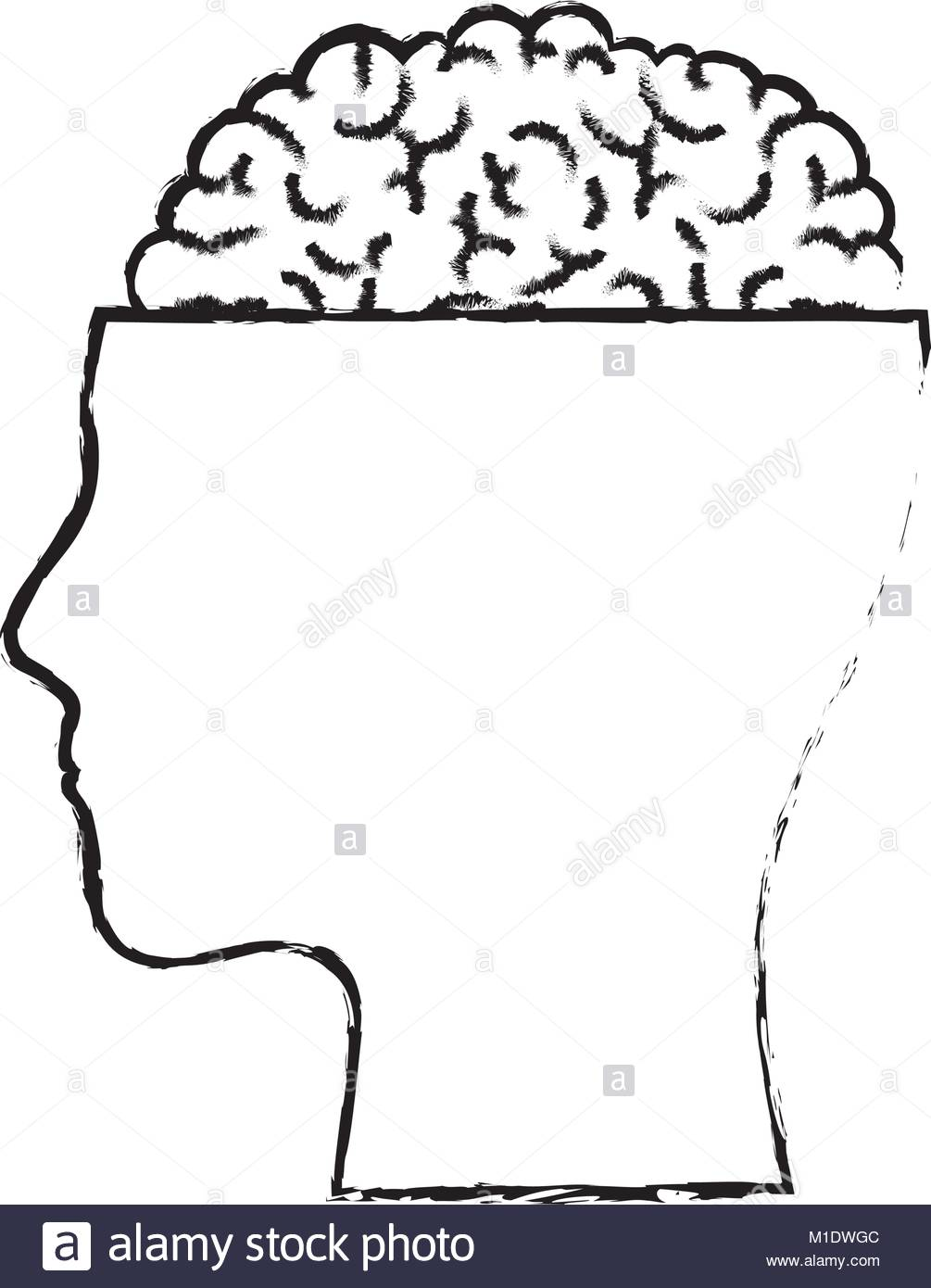 1005x1390 Human Face Silhouette With Brain Exposed In Black Blurred Contour