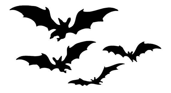 570x311 Bats Birds Halloween Stencil Profile 5 Stencils Styles Svg Dwg