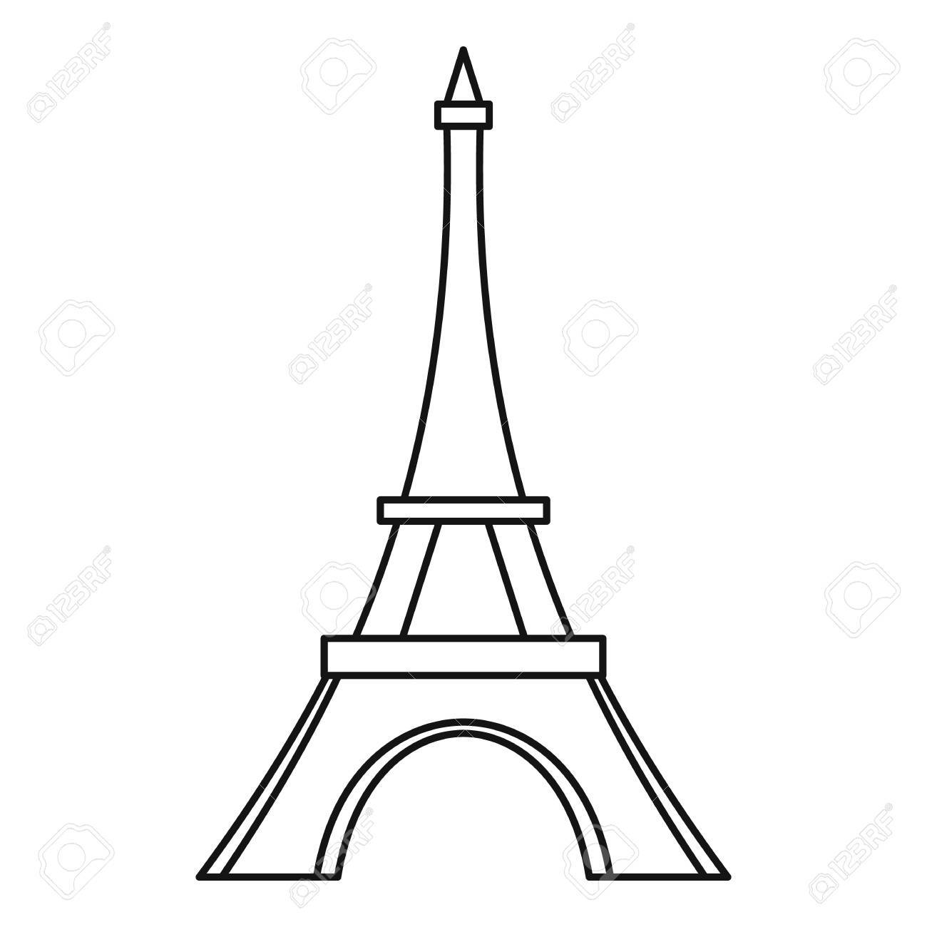 1300x1300 Eiffel Tower France Famous Construction Illustration Black