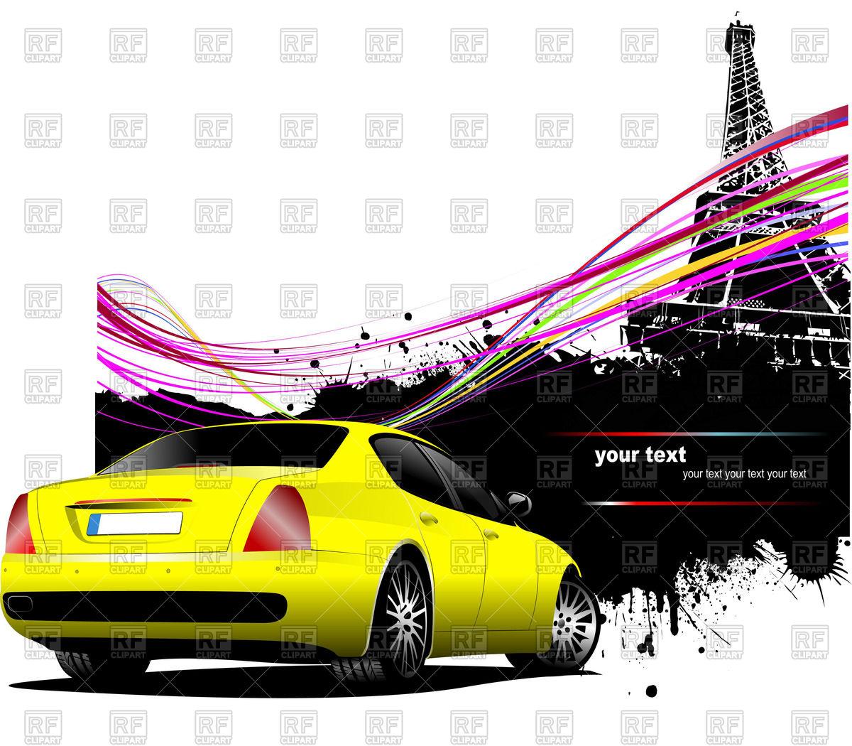 1200x1050 Yellow Sedan Rear View Near Silhouette Of Eiffel Tower In Paris