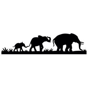 300x300 Elephant Family Border Elephant Family, Silhouette Design