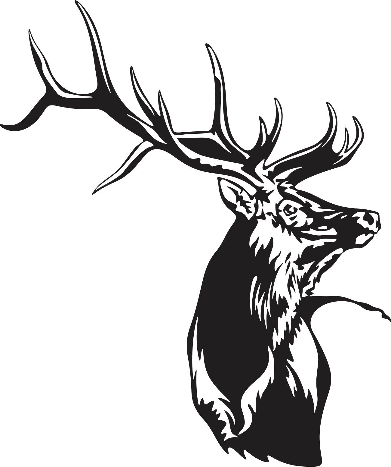 1300x1550 Beautiful Detailed Elk Silhouette Mascot Decal Elk, Silhouettes