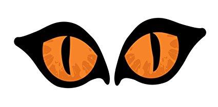 425x209 2 Piece Lighted Orange Cat Eyes Halloween Window