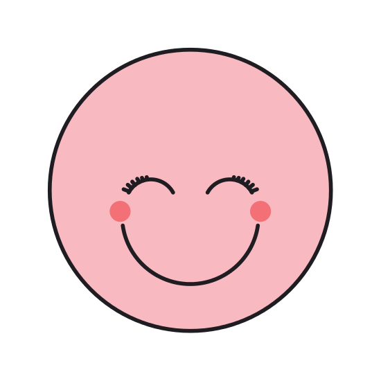 550x550 Blue Silhouette Happy Face Female Emoticon With Eyes Closed