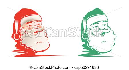 450x244 Silhouette Of Head, Faces Of Santa Claus, Set. Christmas