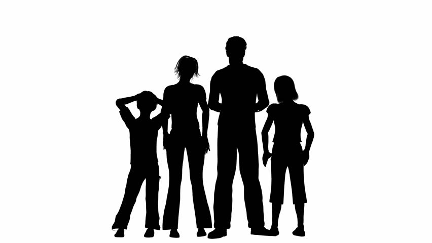 852x480 Receding Silhouette Of A Family Waving Goodbye Stock Clip