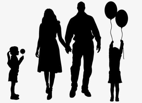 500x362 Black Silhouette, Family, Husband And Wife Png Image And Clipart
