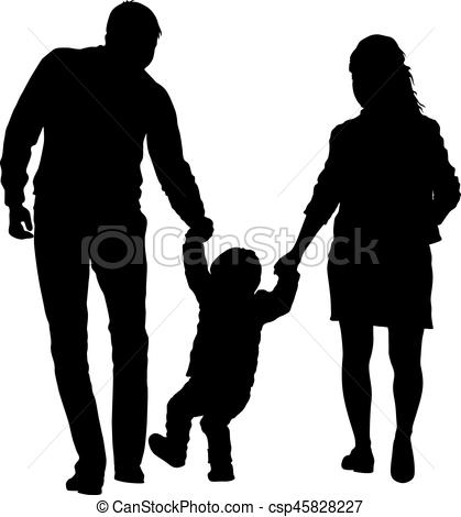419x470 Silhouette Of Happy Family On A White Background. Vector