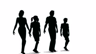 320x180 Happy Family Of Four Silhouette Stock Video Footage