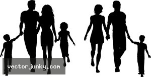 300x153 Family Silhouette Free Clipart