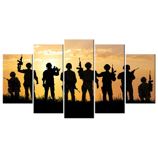 640x640 Online Shop 5 Piece American Soldiers Under Sunset Canvas Wall Art