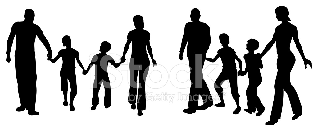 1024x421 Family Of Four Silhouette Stock Vector