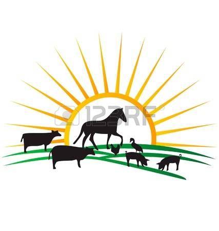 427x450 Farm Animal Silhouettes Sun And Field Vector Photo Farm Animal