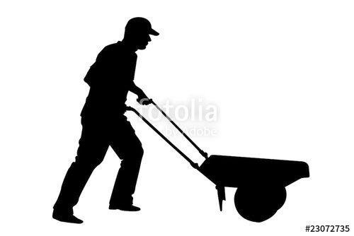 500x334 Silhouette Of Gardener Or Farmer Digging With Shovel Stock Photo