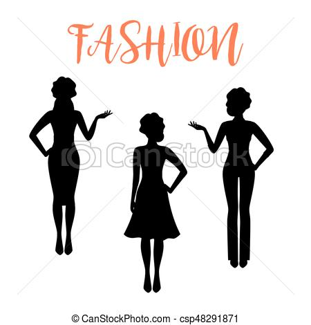 450x470 Fashion Woman Silhouette In Business Style. Fashion Woman