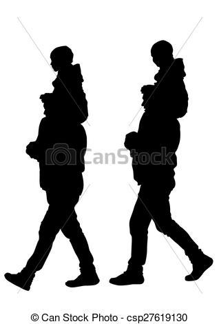 318x470 Father Whit Son. Silhouette Father And Son Out For A Walk Vectors