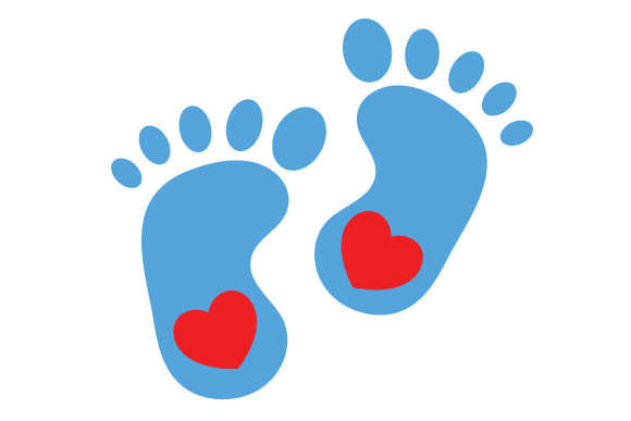 580x387 Blue Baby Feet Silhouette Svg Cut File By Creative Fabrica Crafts