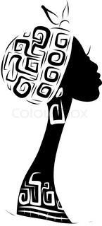 145x320 Female Head Silhouette For Your Design, Ethnic Ornament