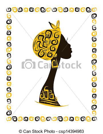 360x470 Female Head Silhouette For Your Design, Ethnic Ornament Vector