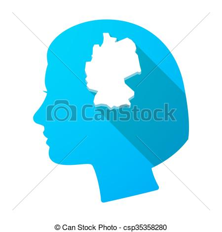 450x470 Illustration Of A Long Shadow Female Head With A Map Of Vector